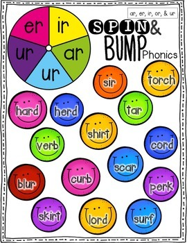 Spin & Bump * R-Controlled Vowels Edition* 5 fun BUMP games for phonics