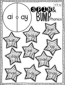 Spin & Bump * Vowel Teams Edition* 5 fun BUMP games for phonics