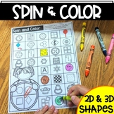 Spin & Color 2D Shapes and 3D Shapes   Shape Identificatio