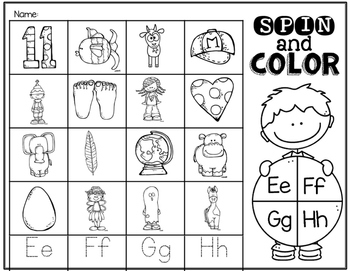 Spin & Color Alphabet Worksheets/Center