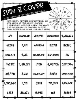 Spin & Cover - Place Value Games (up to the billions)