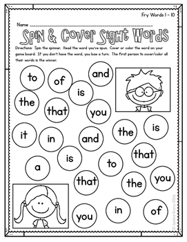 Fry 1-100 - Spin & Cover Sight Words