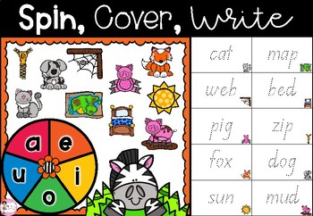 Spin, Cover & Write - Set 1: CVC Words