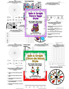 Spin & Graph Holiday Bundle (Bar Graph, Tally Chart, Line Plot & Pie Graph)