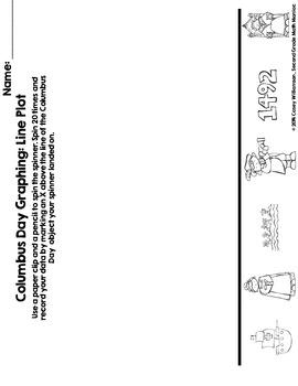Spin & Graph: Columbus Day (Bar Graph, Tally Chart, Line Plot & Pie Graph)