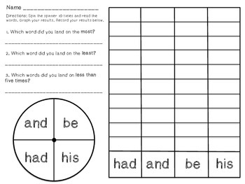 Spin, Graph, Record - Kindergarten Sight Word Edition