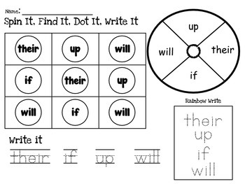 Spin It, Find It, Write It - Sight Word Center for Fry's First 100 Words