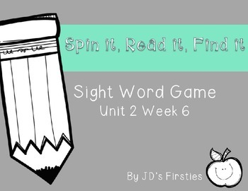 Sight Word Spin It Game