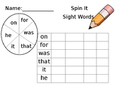 Spin It Sight Words- Editable