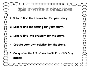Spin It - Write It: St. Patty's Day Writing