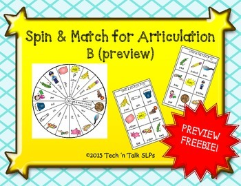 Spin & Match for Articulation Initial B FREEBIE