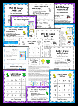 Roll-N-Bump Game   Just Add Task Cards Review Game for Any Subject