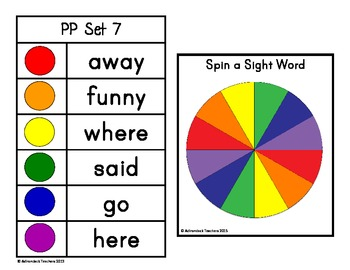Spin, Read, Write and Graph Dolch Sight Words Pre-Primer