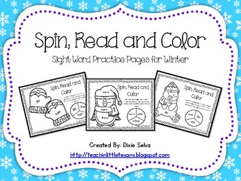 Spin, Read and Color Sight Word Practice Pages