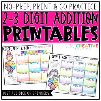 2-3 Digit Addition NO PREP Printable Worksheets