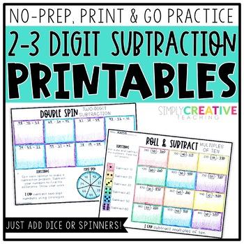 2-3 Digit Subtraction Printables