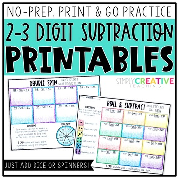 2-3 Digit Subtraction Printables