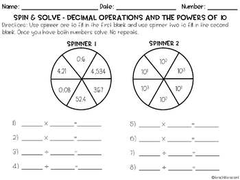 Spin & Solve- Decimal Operations and the Powers of 10