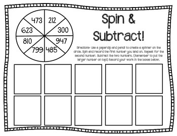 Spin & Subtract {With Regrouping}