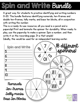 Spin & Write Number Writing Bundle (0-20 ten-frames, tally marks, base ten)