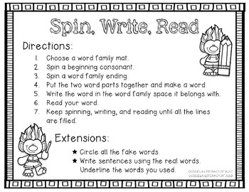 Spin, Write, & Read Short o Word Families