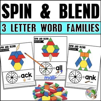 Spin, Write, and Blend 3 Letter Word Families Fall Theme Pattern Blocks