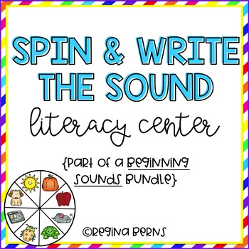 Spin & Write the Sound Literacy Center {Beginning Sounds}