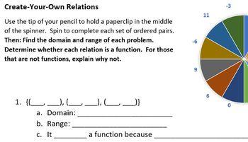 Spin Your Own Domain & Range Function Worksheet