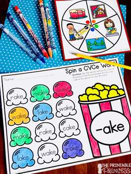 Spin a CVCe Word Families {Word Work Activities}