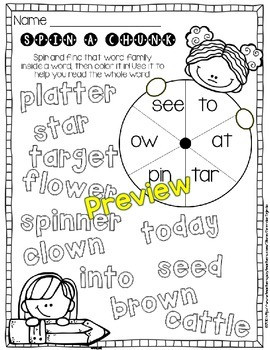 Spin-a-Chunk! Reading Strategy Practice Pages