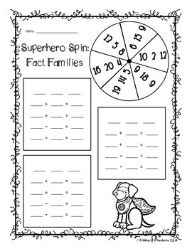 Superhero Spinner - Fact Families / Basic Facts Differentiated Activity Bundle