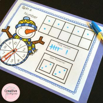 Spin a Number! A Winter Kindergarten Math Center