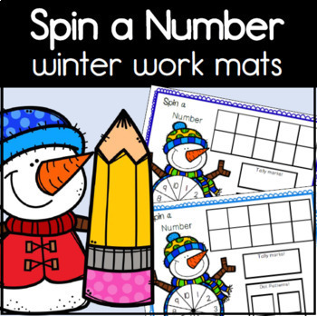 Spin a Number Winter Math Work Mats for Kindergarten