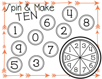 Spin a Number and Spin and Make Ten Work Mats for Kindergarten