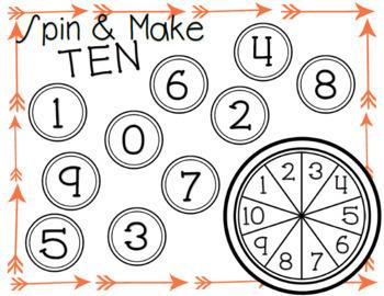 Spinner Math Activities for Composing Ten and Number Sense in Kindergarten