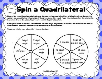 Spin a Polygon Game - Drawing Triangles and Quadrilaterals