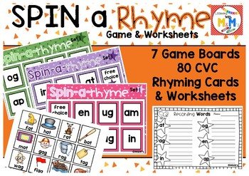 Spin a Rhyme Game & Worksheets