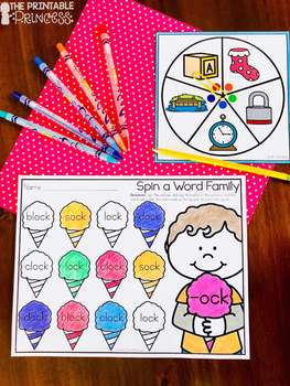 Spin a Short Vowel Word Families {Word Work Activities}