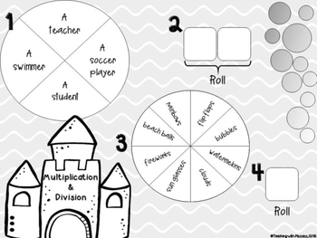 Spin a Silly Sentence Bundle- NO PREP Summer Word Problems for All Operations