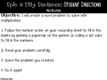 Spin a Silly Sentence- NO PREP SPRING Multiplication & Division Word Problems