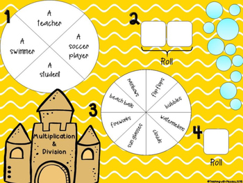 Spin a Silly Sentence- NO PREP SUMMER Multiplication & Division Word Problems