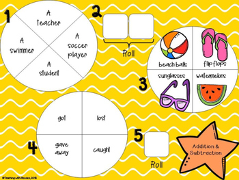 Spin a Silly Sentence- NO PREP Summer Addition & Subtraction Word Problems