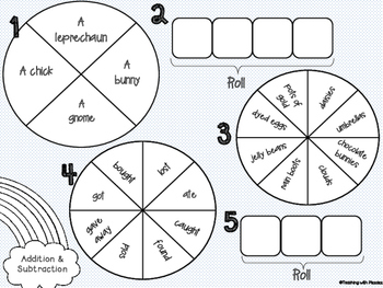 Spin a Silly Sentence- NO PREP Spring Addition & Subtraction Word Problems