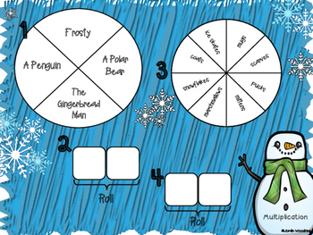 Spin a Silly Sentence- NO PREP Winter Multiplication & Division Word Problems
