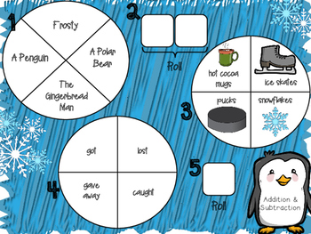 Spin a Silly Sentence- NO PREP Winter Addition & Subtraction Word Problems