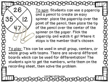 Spin a Subtraction Problem - A Math Game Common Core Aligned