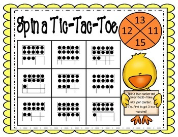 Spin a Tic Tac Toe- Teen Numbers