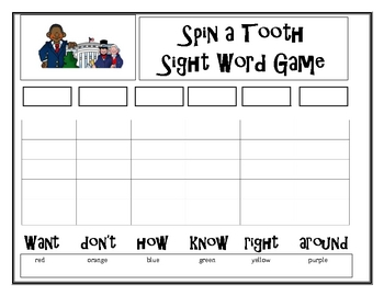 Spin a Tooth Sight Word Games