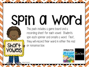 Spin a Word- Short Vowels