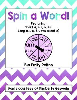 Spin a Word! (Short a, e, i, o, u AND a_e, i_e, o_e, u_e)